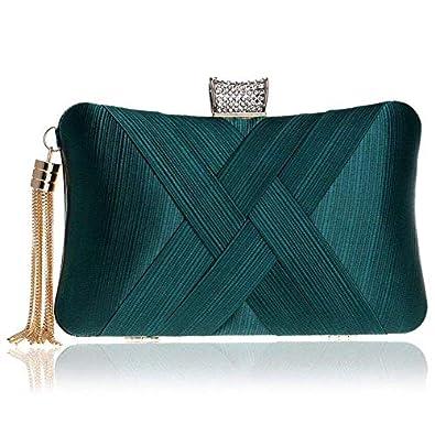GETKO WITH DEVICE Women's Elegant Tassel Velvet Evening Party Clutch Bags Bridal Wedding Purse Handbags Fashion Suede Dinner Bag (Green)