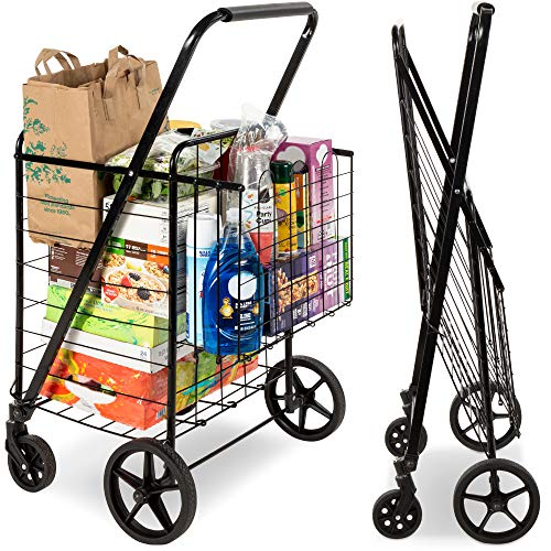 Best Choice Products Folding Steel Grocery Cart, Portable Multipurpose Utility Double Basket for Shopping, Groceries, Laundry w/ Swivel Wheels, Storage, 220lb Capacity