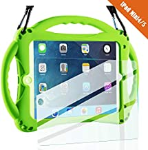 TopEsct iPad Mini 4 Case Kids Shockproof Handle Stand Cover&(Tempered Glass Screen Protector) for iPad Mini4 (Mini4 Green)