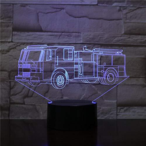Luz De Ilusión 3D-Camión De Bomberos Luz De Noche Lámpara Led 3D Lámpara De Humor Lámpara De Decoración Luz De Noche Para Niños Juegos Regalos-Control Remoto