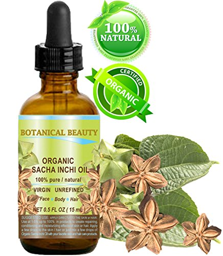 SACHA INCHI OIL ORGANIC. 100% Pure/Natural/Undiluted/Virgin/Unrefined. 0.5 Fl.oz.- 15 ml. For Skin, Hair, Lip and Nail Care.