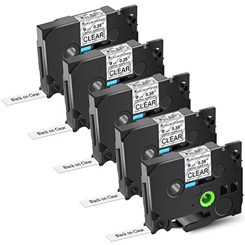 """KCMYTONER Compatible for Brother P-Touch Standard Extra Strength Laminated Label Tape TZe-S121 TZ-S121 TZeS121 Used in PT-D210 D400 D600 PT-H110 Printers Black on Clear (3/8"""") 9mmx 26.2ft(8m) 5 Pack"""