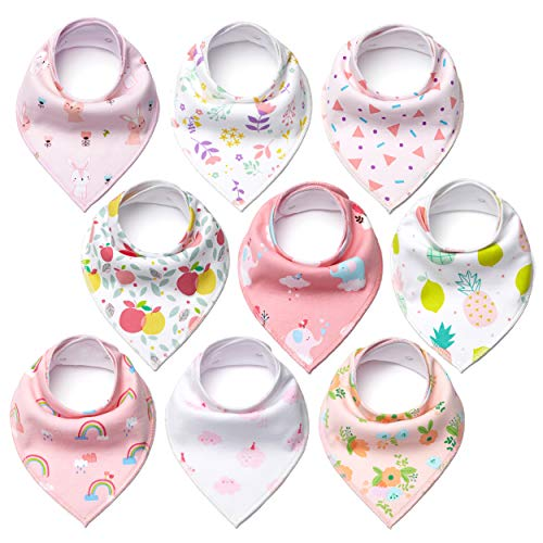 CHARMKER Bandana Bibs for Girls (9-Pack) Cute Pink Colors and Graphics | Plush, Super Absorbent Cotton | Nickel-Free Adjustable Snaps | Teething, Drooling, Feeding