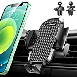 【2021 Upgraded】 VANMASS Car Phone Mount Fingerprint Clamp, [ 2 Pack Stronger Vent Clips], [ Armor-Level Shockproof] Universal Air Vent Phone Holder Compatible with All iPhone Android Cellphone