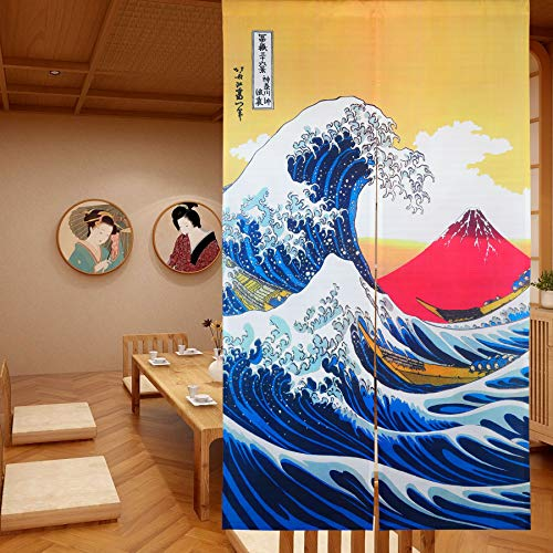 LIGICKY Cortina de Puerta Japonesa Noren Ukiyoe Hokusai The Great Wave Off Kanagawa Mount Fuji Tapiz para Colgar en la Puerta para decoración del hogar 85 x 150 cm