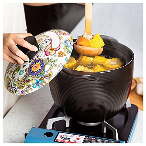 AIZYR Pentola in Ceramica da Cucina Giapponese con Coperchio - Pentola di Terracotta Pentola di Terracotta Pentole in Ceramica per La Casa per Stufato, Zuppa, Vapore,2.2l