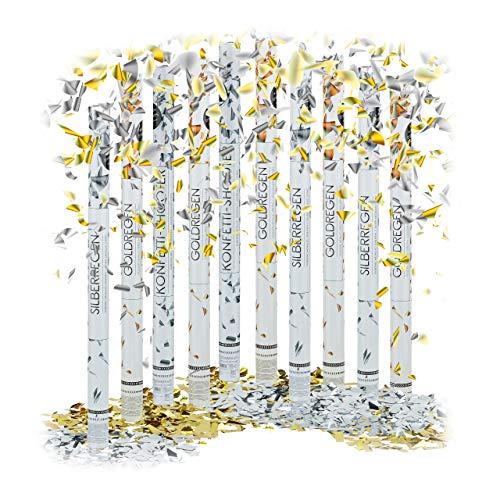 Relaxdays 10 x Party Popper 80 cm im Konfettikanonen Set, Konfetti Bombe für Hochzeit und Geburtstag, Konfetti Shooter 6-8 m Effekthöhe, Gold/Silber metallic
