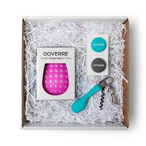 GOVERRE: Gift Box Petite   To-Go Wine Glass as Seen on Shark Tank (Birthday, Hostess, Teacher, Girlfriend), Ready to Gift Pink Tumbler, Corkscrew & 2x Bottle Caps