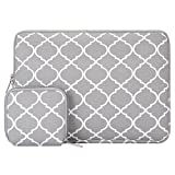 MOSISO Laptop Sleeve Compatible with 13-13.3 inch MacBook Pro, MacBook Air, Notebook Computer, Canvas Quatrefoil Bag Cover with Small Case, Gray