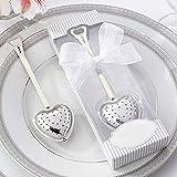 ZOCO - Cucchiaio colino filtro infusore per tè, manico con cuore in acciaio inox, idea regalo, matrimonio, merenda