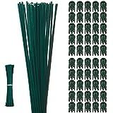 50 Estacas de Soporte de Planta de Alambre de Hierro Recubierto de Plástico de Un Solo Tallo de 15,9 Pulgadas 50 Clips de Fijación de Vid de Jardinería, 100 Lazos de 4,72 Pulgadas de Largo