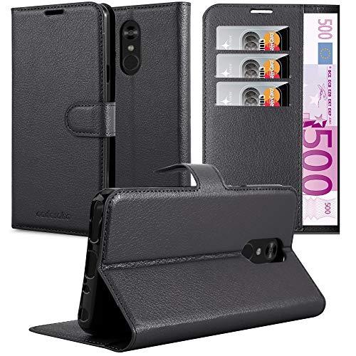 Cadorabo Hülle für LG Q Stylus in Phantom SCHWARZ - Handyhülle mit Magnetverschluss, Standfunktion & Kartenfach - Hülle Cover Schutzhülle Etui Tasche Book Klapp Style