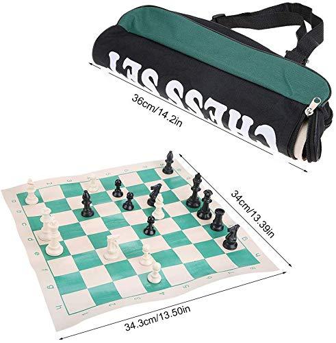 Zerodis Juego de ajedrez, Juego de ajedrez portátil con Mochila Juego de Mesa de ajedrez con Pieza de ajedrez Artesanal Promover el Juego de Inteligencia Infantil para niños