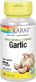 Solaray Garlic Bulb 600mg | Organically Grown | Healthy Immune, Circulatory & Cardiovascular Systems Support | Vegan & Non...