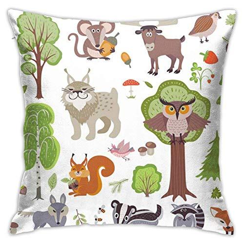 qimingshajinzhubaoshangxing Fundas de cojín de animales del bosque, cuadradas, para sofá, sofá o cojín de coche, 18 veces