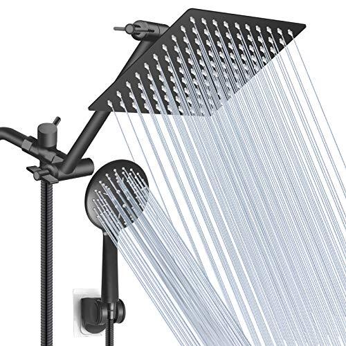 Shower Head,8 Inch Rain Shower Head with 11 Inch Adjustment Extension Arm/High Pressure Handheld Shower Head Combo,3 Spray Setting Hand Held Showerhead with 60 Inch Hose/Adhesive Bracket - Matte Black