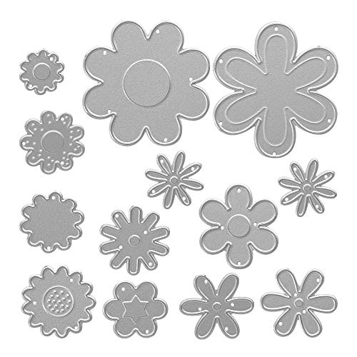Metal Die Cuts Flowers in 13 Shapes Embossing Stencil Cutting Dies for Card Making Scrapbooking Paper Craft Album Stamps DIY Décor