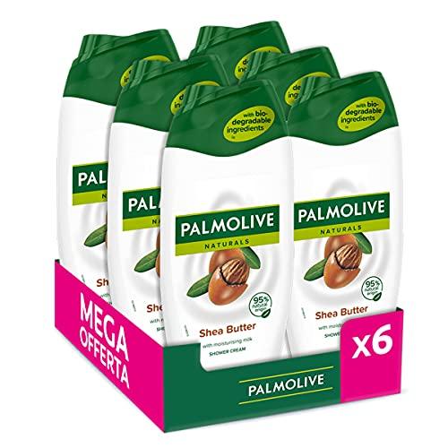 Palmolive, Bagnoschiuma Naturals, Bagnodoccia Crema Per Il Corpo Al Burro di Karité, Idrata Tutti I Tipi Di Pelle Con La Sua Formula Delicata Per Una Pelle Soffice - 6 Flaconi Da 250 ml