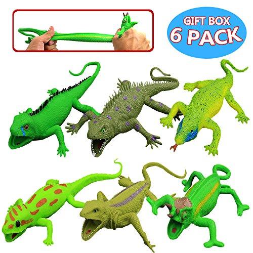 Conjunto de Lagarto de Goma de 9 pulgadas ( 6 Paguetes), super elasticidad- Juguete Blando de Bañera de Figuras de Lagarto Simulado - Gecko, Iguana, Chameleón, Komodo, Dragón