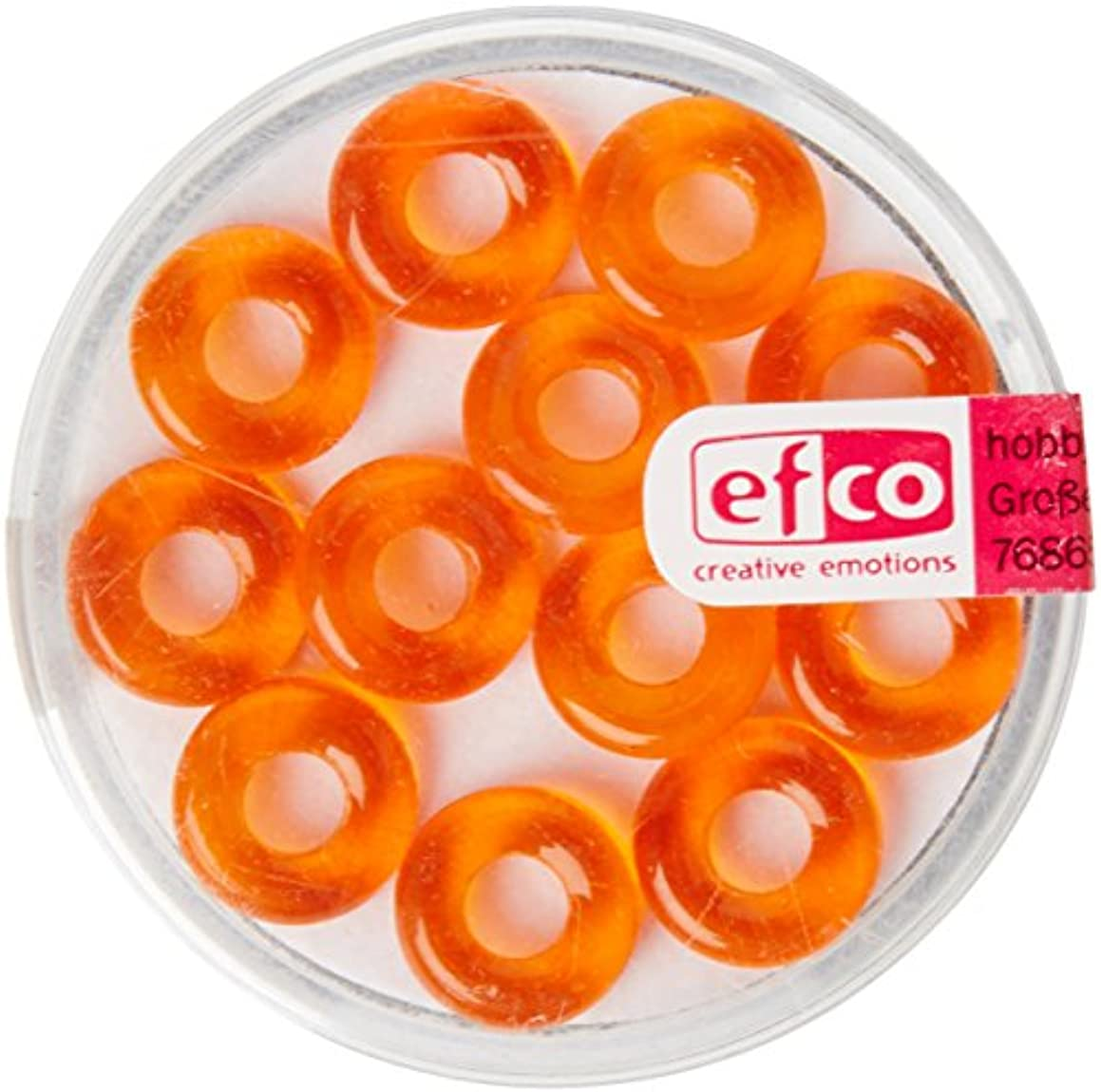 Efco Glass Bead Ring Big Hole 3 x 10 mm / 4 mm 12 pcs. Orange, Silver, 3 x 3 x 2 cm
