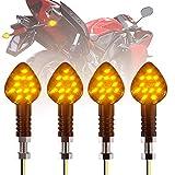 CCAUTOVIE Intermitentes Moto LED,Intermitente Moto E-24 Homologado Ámbar LED Universales Motocicleta Luces Indicator 12V (Paquete de 4 )