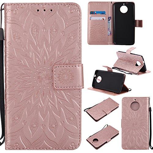 Hülle für Moto G5S Hülle Handyhülle [Standfunktion] [Kartenfach] [Magnetverschluss] Schutzhülle lederhülle flip case für Motorola Moto G5S - DEKT031980 Rosa Gold