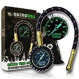 Rhino USA Heavy Duty Tire Pressure Gauge (0-75 PSI) - Certified ANSI B40.1...