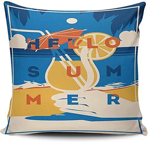BONRI Funda de cojín cuadrada decorativa para sofá de verano y vacaciones de verano de 45,7 x 45,7 cm