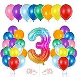 Globo cumpleaños 3 año, Globo 3 Año, Decoración de cumpleaños 3 er Colores, Globos Numeros 3 para Fiestas, Number Balloons, Set Globos Decoracion Bautizo Comunión Fiesta Cumpleaños Party