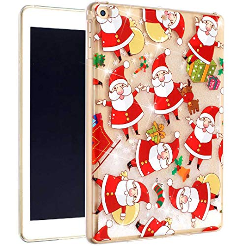 2018 2017 2016 Kindle HD8 Liquid Case, Flowing Moving Heart Sand Glitter Cover, HUZIGE New Clear Soft Clear Protect Thin Slim Phone Light Case For Apple iPad 9.7 2018 2017/Air2/Air Christmas Santa