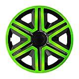 NRM Action - Juego de 4 tapacubos universales para coche, color verde y negro, 16 pulgadas