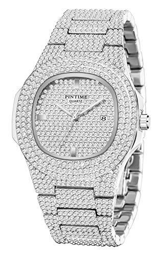 Men's Iced Out Watch Costume Hip Hop Bling Three Dual Rhinestone Bezel Quartz Movement Luxury Dress Unisex Wrist Watch