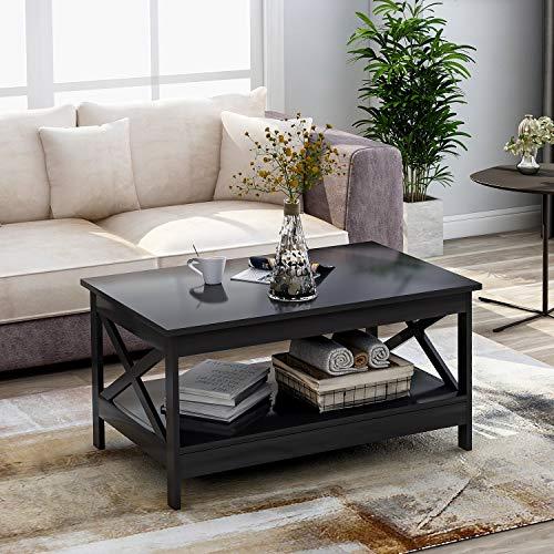 BTM Modernes X Design Wohnzimmer Couchtisch, Holz Beistelltisch mit Lagerregal (schwarz)