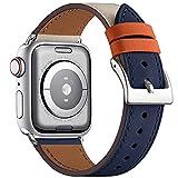 WFEAGL コンパチブル Apple Watch バンド,は本革レザーを使い、iWatch SE、 Series 7/6/5/4/3/2/1、Sport、Edition向けのバンド交換ストラップです コンパチブル アップルウォッチ バンド(42/44/45mm, ダークブルーのアイボリー バンド+シルバー 四角い バックル)