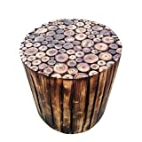 SOF Round Wooden Stool Natural Wood Logs Best Used as Bedside Tea Coffee Plants Table for Bedroom Living Room Outdoor Garden...
