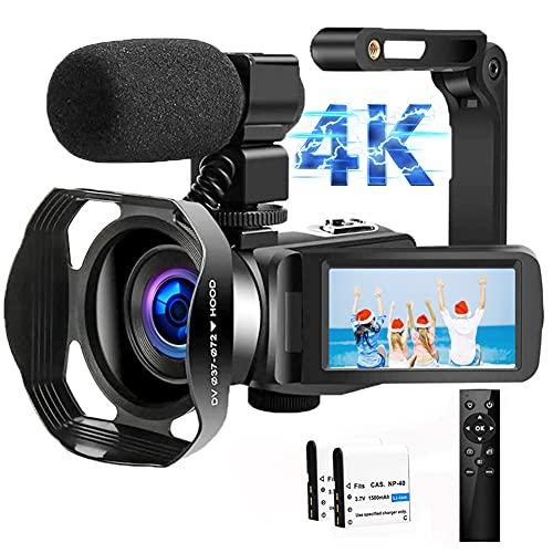 Videocamara Cámara de Video 4K Ultra HD 48MP Vlogging Youtube Cámara IR Visión Nocturna zoom digital 18X digital Videocámara con Micrófono, WiFi, Estabilizador de Mano y Pantalla Táctil de 3.0