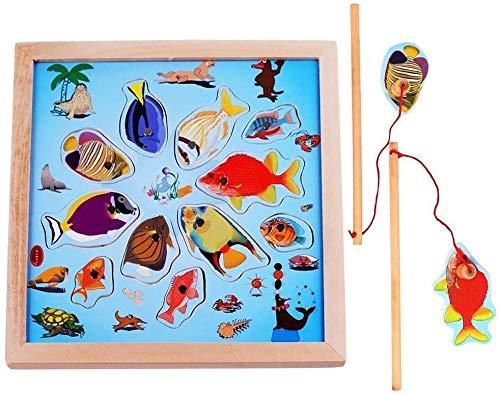 Beyond Dreams® Angelspiel Magnetisch Spiel Angeln Holzpuzzle für Kinder | Spielzeug Fisch Fangen mit Magnet | Magnetpuzzle Brettspiel Fischen für Jungen Mädchen (Kinderpuzzle)