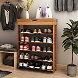 SogesPower 5-Tier Wooden Shoe Rack 29.5 inches Shoe Organizer Shoe Storage Shelf Free Standing Shoe Rack, Teak