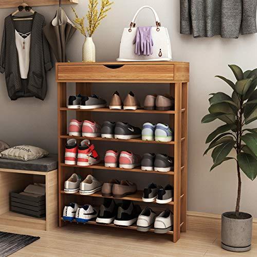 SogesPower 5-Tier Wooden Shoe Rack 29.5 inches Shoe Organizer Shoe Storage Shelf Free Standing Shoe Rack, Teak