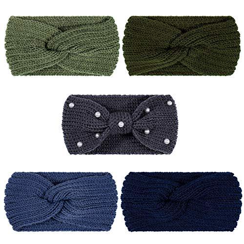 Whaline 5 Stück Strick Stirnbänder Winter Ohrwärmer, 4 Elastische Turban Kopfwickel und 1 Perle Häkelhaarband, Haar Haargummis, Schals für Frauen Mädchen (Blau Grün Farben)