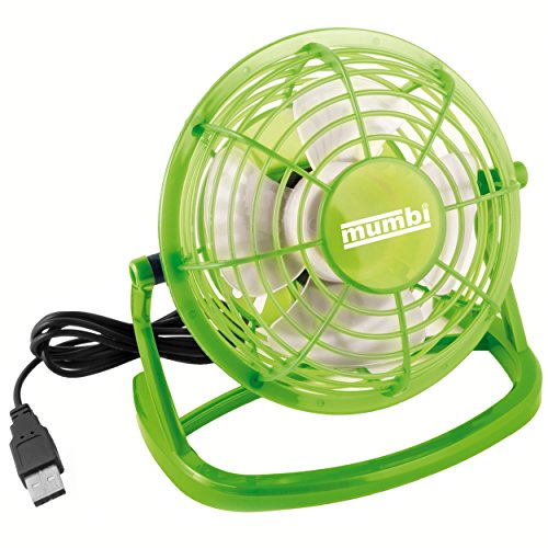 mumbi USB Ventilator - Mini USB Fan für den Schreibtisch mit An/Aus-Schalter in grün