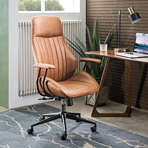 ovios Computer Office Chair,Modern Ergonomic Desk Chair,high Back Suede Fabric Desk Chair with Lumbar Support for Executive or Home Office (Black-Brown)