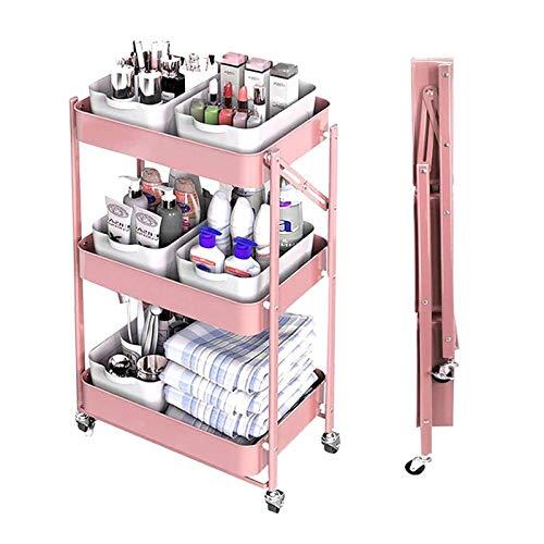ZYFang 3 Niveles Mueble Auxiliar de Cocina, Plegable Cocina Verdulero Metal Mesa Carro de Almacenamiento con 4 Ruedas y 3 Cestos para Cocina Restaurante (Color : Pink, Size : 17.7 * 11.6 * 30.3in)
