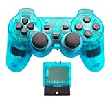 XFUNY 2.4G Wireless Game Pad Game Joysticks Gaming Controller Joypad Gamepad Console Controller for PlayStation 2 PS2 - Transparent Skyblue