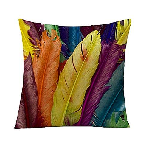 Vi.yo taie d'oreiller motifs de plumes colorées housse de coussin pour canapé de bureau club de chambre (style 1)