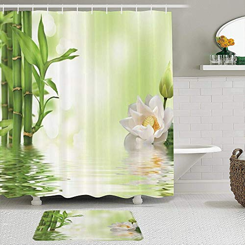 KISSENSU Cortinas con Ganchos,SPA Lotus Blooming White Lotus Flower Verde Bamboo,Cortina de Ducha Alfombra de baño Bañera Accesorios Baño Moderno
