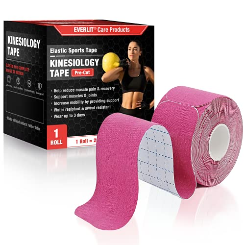 """EVERLIT [Single] Pre-Cut Elastic Cotton Kinesiology Therapeutic Athletic Sports Tape, for Pain Relief and Support, 20 Precut 10"""" Strips (Pink)"""