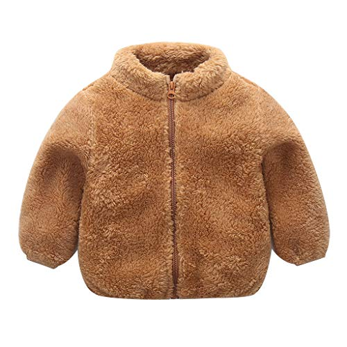 ZEZKT Jungen Plüschjacke Steppjacke Kinder Baby Mädchen Übergangsjacke Outdoorjacke Jungen Netter Reißverschluss Solide Dicker Fleece Mantel Warme Outwear 0.5-4 Jahre