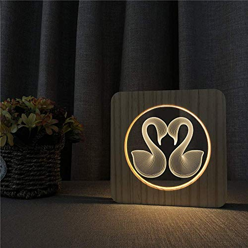 Liefde in 3D 3D LED acryl hout nachtlampje kinderkamer decoratie tafellamp schakelaar bediening gesneden licht