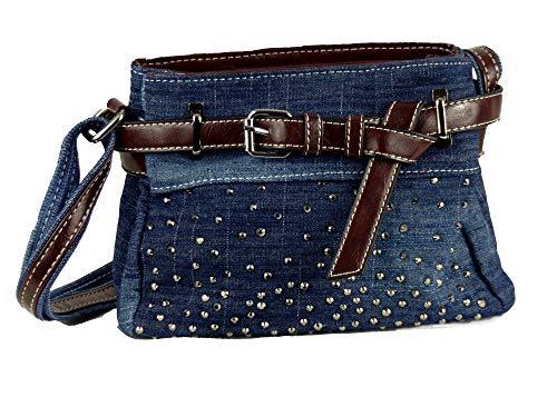Cool Jeans Umhängetasche mit Gürtel und kleinen Steinchen/Nieten - Glitzereffekt - Maße ohne Henkel 22x17x6 cm - Damen Mädchen Teenager Tasche - Used Look Style (dunkelblau/JG/helle Naht)